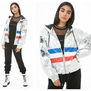 FOREVER 21 X NASA Silver Windbreaker Jacket {UU40}
